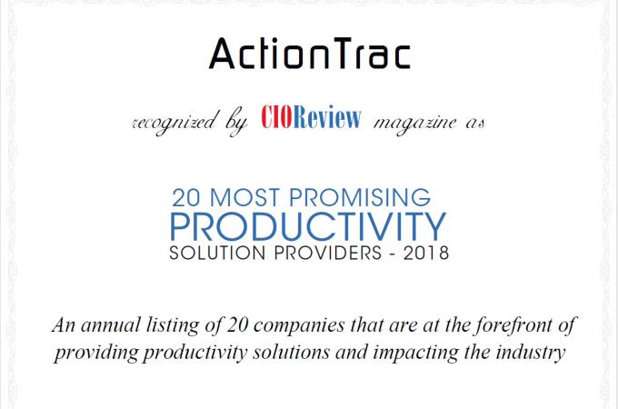 CIO 20 most productivity solution providers -2018